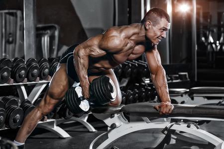 musculoso: Atleta entrenamiento culturista muscular en el gimnasio. Volver entrenamiento en el gimnasio
