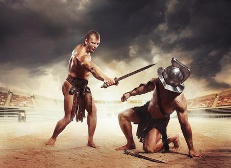 獲得した剣闘士 写真素材