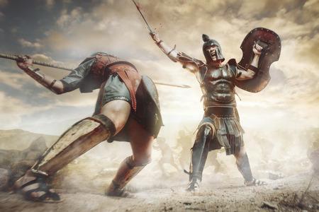 전투에서 싸우는 고대 그리스 전사 스톡 콘텐츠