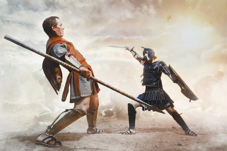 Ancient Greek warriors Achilles and Hector fighting in the combat Standard-Bild