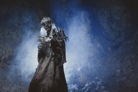 undead: Male demon. Art studio shot. Goth necromancer with horror bodyart Stock Photo