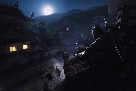 Japanse Ninja Samurai op het dak van het kasteel wachtend op hiden-hinderlaag Stockfoto