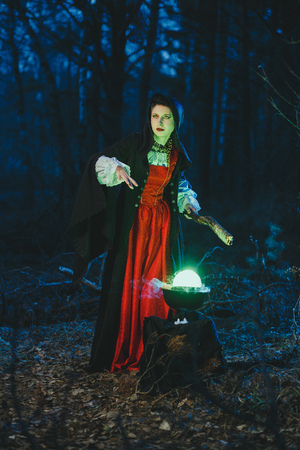 Halloween Young beautiful and mysterious woman witch in woods, in black cloak with hood, witch conjures in the wizarding forest Banco de Imagens