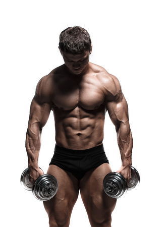 Handsome power athletic man pumping up muscles isolated over white. Strong bodybuilder with perfect shape body and six pack, abs, shoulders, biceps, triceps and chest. Banco de Imagens