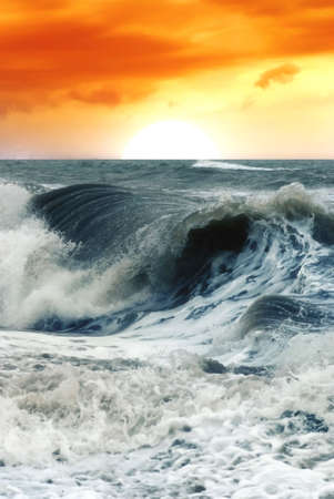 big waves at the sunset photo