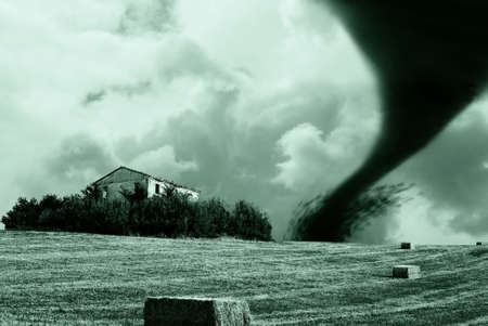 tornado on the hill Stock Photo