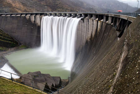 cascade from a hydroelectric plant Stock Photo