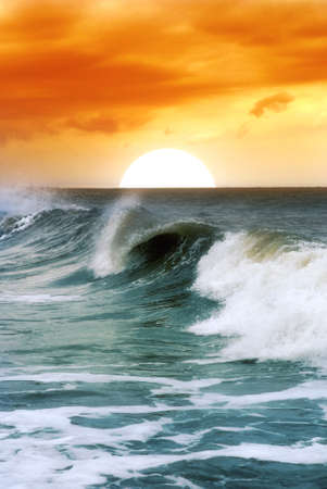 soft waves at the sunset photo