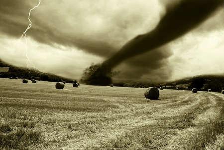 tornado incoming from the horizon Stock Photo - 8890210