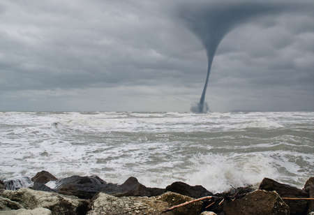 twister: twister incoming from the sea Stock Photo