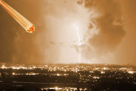 meteorite hits the city during the storm Stock Photo - 8965751