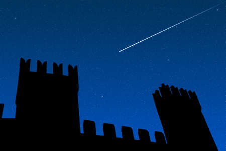 falling star over the castle of gradara photo