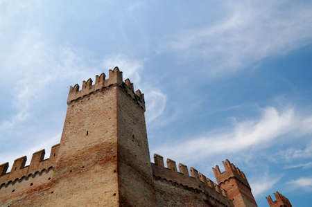rimini: castle under blue sky in spring in rimini