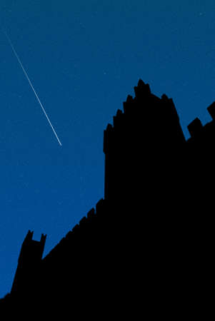 falling star above the castle photo