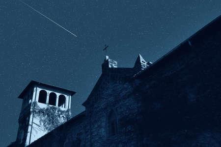church under falling star photo