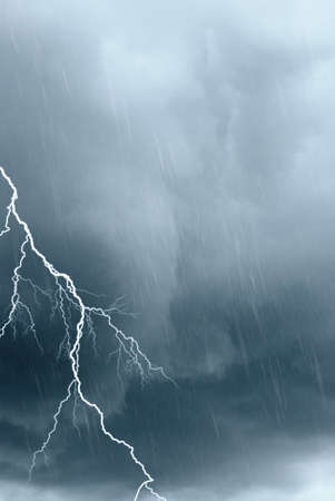 bad weather with rain and lightning