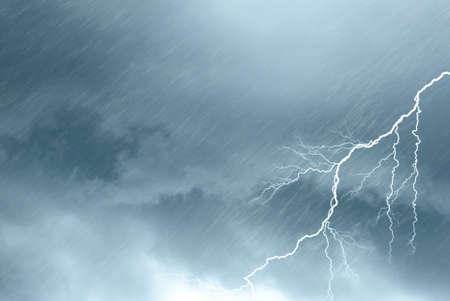 lightnings: scary clouds with lightning and rain Stock Photo