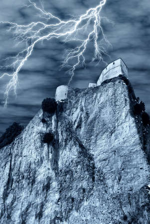 spectral castle with lightning Stock Photo - 9241443