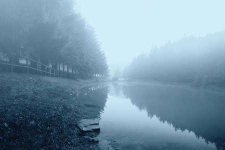 fog on the lake in autumn photo