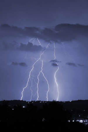 night storm with a lot of lightning  Stock Photo - 9319611