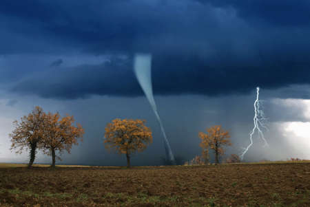 tornado: tornado incoming from horizon in countryside