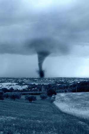 twister hits the city in the afternoon photo