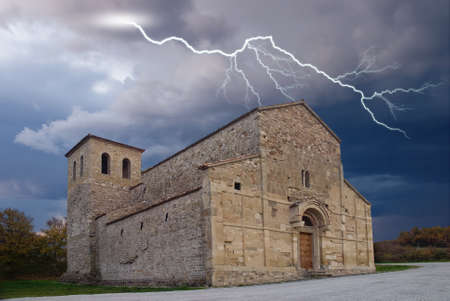 storm with lightning over the church Stock Photo - 9447719