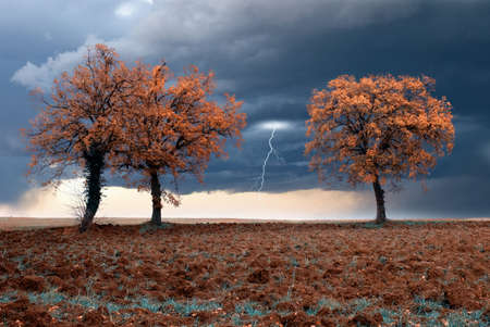 outdoor electricity: storm incoming in autumn in countryside Stock Photo