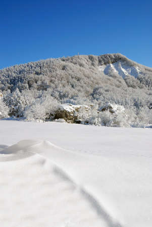 mountains and meadows covered with snow and ice photo