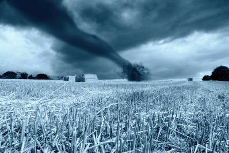 arrive: tornado in arrive on the hill Stock Photo