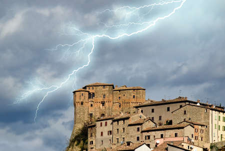 ancient medieval town under the storm Stock Photo - 9530732