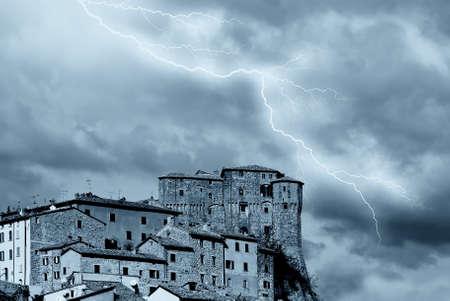 antique medieval village under stormy sky Stock Photo - 9633633