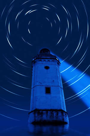 polar star over lighthouse in the blue night photo