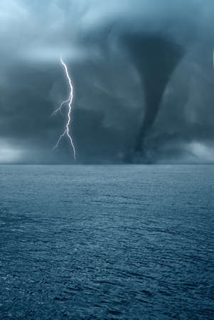 twister and lightning over the ocean