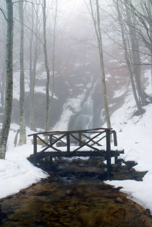 wooden bridge over stream near the soft waterfall photo