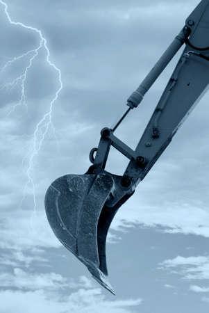 digger shovel under bark sky Stock Photo - 9897206