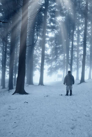 isolated man in the snowy forest photo