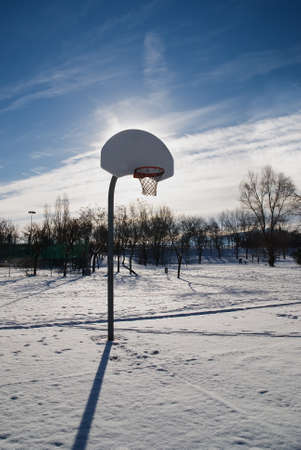 basketball court impracticable by snow photo