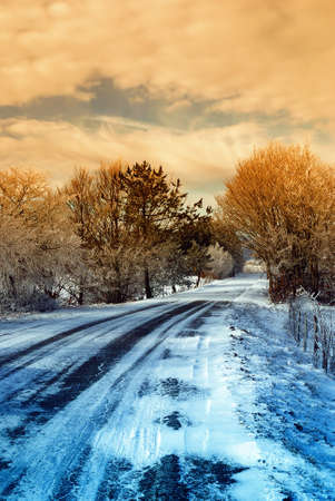 winter road: road