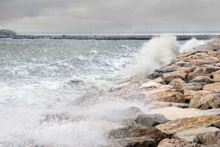 big seas with waves on the reef photo