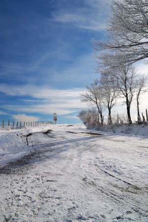 street with sno and ice in jenuary photo