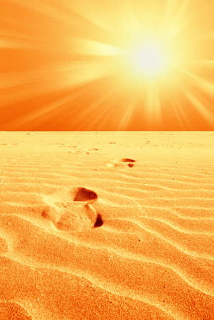 footprint in the desert with hot sun photo