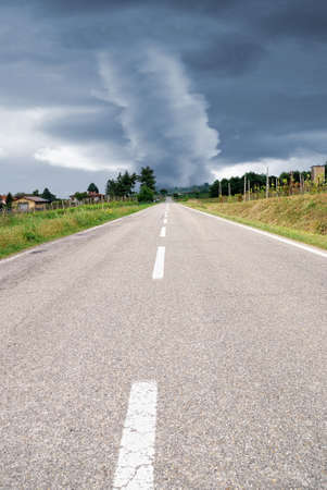 amzing tornado at the end of the road Stock Photo - 12910827