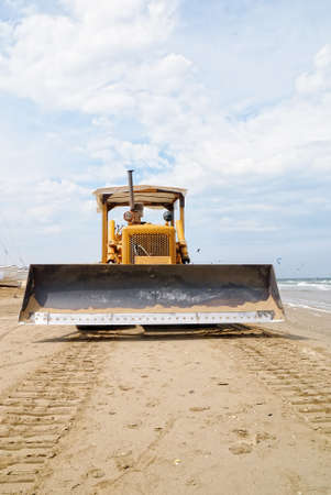 in front of the bulldozer on the beach Stock Photo - 14568524