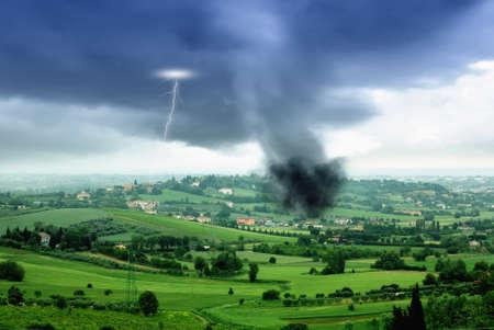 tornado in the valley in spring Stock Photo