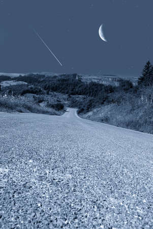 falling star in mountain with moonlight Stock Photo - 14849065