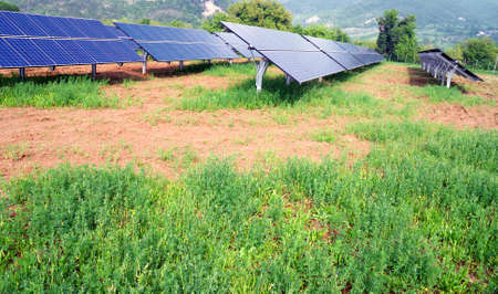 installation of solar panels in countryside photo