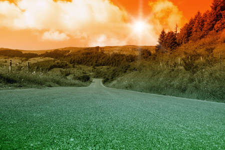 sunset with amazing sky on mountain road Stock Photo - 14987953