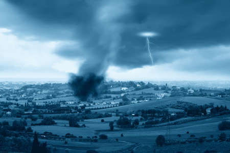 lightning and tornado in the valley Stock Photo - 14987946