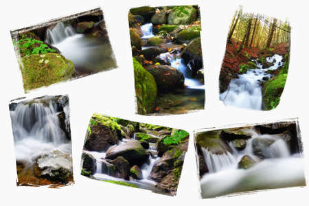 collage of little waterfall in the underwood Stock Photo - 15493702